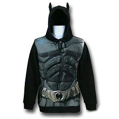 Batman Hoodie: Dark Knight Rises - It may not exactly stop the tip of the Penguin's umbrella, or deflect shrapnel from a booby-trap bomb, compliments of the Joker, but… well it looks like it might. Plus this Batman 'Dark Knight Rises' Armour Costume Hoodie looks awesome and feels comfy. Exactly how Batman might describe his sweet ride, you know… to the ladies.