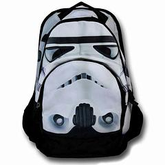 Stormtrooper Backpack - With the impassive but intense gaze of a Stormtrooper glaring from the front and an Imperial symbol emblazoned on the back, this sturdy backpack with adjustable straps, a mesh side pocket and Star Wars logos on the zippers is just what the Emperor ordered. At least I hope it is, or else it's invisible-choke city for us.*100% polyester*48cm tall