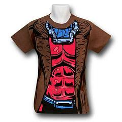 Gambit Costume T-Shirt - Look the part, today. Gambit is suave, smooth, sophisticated and sometimes smoochy with Rogue. Who wouldn't want to be this guy? Well we can all look like him with this 100% cotton T-Shirt, which is brown to simulate his overcoat, to boot.