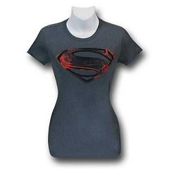 Man of Steel Ladies Fitted Shirt - Get up close and personal with your Man of Steel in this ultra-soft, short sleeve, fitted, 100% cotton T-Shirt.Sizing: Women's Juniors (Baby Doll)Colour: Dark Grey