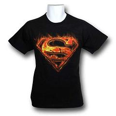 Superman Logo Flames T-Shirt - Hotter than the fires in an enraged Kryptonian's eyes this Superman Logo Flames T-Shirt is made from 100% preshrunk cotton, and is a hot, summer bargain.