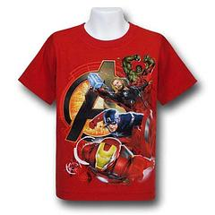Avengers Heroes Juvenile T-Shirt - The Avengers Symbol With Heroes Juvenile T-Shirt is made from 100% cotton and features Iron Man, Thor, Hulk and Captain America. They're ready to deal with any enemy, alien or otherwise.Colour: Red