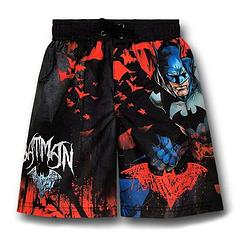 Batman Kids Board Shorts - The Batman Red and Black Kids Board Shorts are made from 100% polyester.Features a drawstring at the front and a pocket on the back.