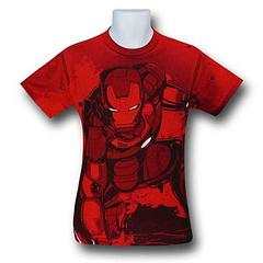 Iron Man T-Shirt: Red All-Over - Sounds like a good lead in for a joke: what's mean, lean, and red all-over? But the Iron Man Fist Down Red All-Over Print T-Shirt is too hardcore for such humour. Made from 100% cotton and the ideas of one Tony Stark, this impressive Iron man T-shirt outclasses all rivals.Colour: Red