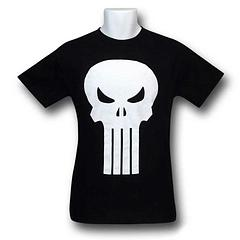 Punisher T-Shirt: White Skull - There's nothing like the original classics, and this is one of those. The Punisher White Skull T-Shirt is made from 100% cotton but don't let that fool you, it's no softie when it comes to striking fear into the heart of bad guys, everywhere. A must have for Punisher fans.Colour: Black