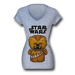 Chewbacca T-Shirt: Cute Juniors - This adorable Star Wars Cute Chewbacca Juniors V-Neck T-Shirt is made from 90% cotton, 10% Viscose and a whole At-At load of extra cute.Sizing: Women's Juniors (Baby Doll)Colour: Heather Grey