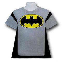 "Batman T-Shirt Kids Grey Caped Costume - So he, or she, wants to be Batman? Sounds like a sound plan at their age. They get to run around and help people, saying, ""Bam,"" and, ""Pow,"" a lot when the baddies show up? Probably a lifestyle that burns up a lot of energy, too. Hmmm. Could be a perfect fit for your little hero. Removeable cape is a great touch.The Batman Kids Grey Caped Costume T-Shirt is made from 50% cotton and 50% polyester. It features a removable..."