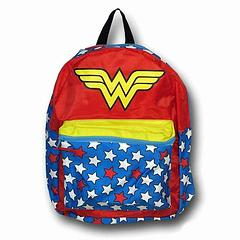 Wonder Woman Backpack: Caped - Need to carry your stuff and be ready to spring into action at a moment's notice? Then this could be just what you're after. The Wonder Woman Backpack with Removable Cape measures approximately 40cm high and 30cm wide and the removable cape measures approximately 76cm long and 66cm across at its widest point. Approved by 10 out of the 10 Amazonian Princesses surveyed.