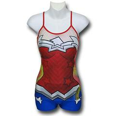 Wonder Woman Cami & Shorts Set - The Wonder Woman 52 Costume Cami and Shorts Set is made from 97% polyester and 3% spandex.Sizing: Women's Juniors (Baby Doll)Colour: RedImportant: Due to hygiene and health reasons, we are unable to accept returns on underwear, so please choose carefully.