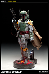 Boba Fett 1:6 Scale Sideshow Figure - From the masters of premium quality collectables, Sideshow Collectibles, comes this 2012 release of the man who took Han Solo to his Carbonite incarceration; the rocket-powered Bounty Hunter, Boba Fett; in this Star Wars – Boba Fett 1:6 Scale (12 inch) Action Figure.Wearing his Madalorian Battle Armour and Jet Pack, Boba Fett, son of Jango Fett, also comes complete with a massive list of features and accessories, including: Prometheus 1.1 body with over 30 points of articulation Newly developed and...