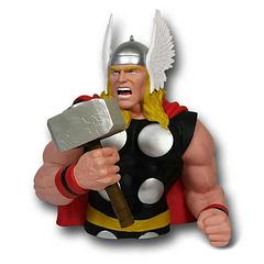 Thor Bust Bank - Great price and carefully shipped, this Thor Bust Bank measures approximately 20cm (8 inches) tall and would deter any mere mortal from trying to siphon any of your hard earned savings. The God of Thunder makes a great addition to your collection. Grab one while they're still in stock.Independent product review by gothenqcowboys YouTube channel
