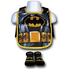 Batman Bib: with Cape & Booties - Adorable babies deserve adorable Batman stuff. It's not a very deep and profound belief system, I'll grant you, but it seems to work for many.The Batman Costume Bib with Cape & Booties features a bib with a removable cape fastened with Velcro.Body: 100% polyesterLining: 80% cotton and 20% polyesterSocks: 80% cotton, 18% nylon and 2% spandex.Note: The cape must be fastened properly to avoid any potential for injury.