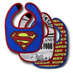 Superman Bib 3-Pack - The Superman Bib 3-Pack contains three water-resistant infant bibs.Each bib has a Velcro closure. The body is made from 96% cotton and 4% spandex. The lining is 100% cotton.Sizing: One size fits most.