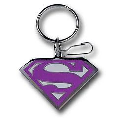 Supergirl Keyring: Pink Symbol - The Supergirl Enamel Chrome Pink Symbol Keychain measures almost 6cm across at its widest point.