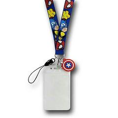 Marvel Lanyard with Cap Shield - The Marvel Faces Lanyard with Captain America Shield depicts the faces of Spider-Man, Wolverine, Captain America, and Iron Man.It features an ID card sleeve measuring approximately 9.5cm high and 6cm wide, and a Captain America shield.
