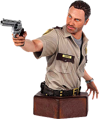 Rick Grimes Mini-Bust - No one takes care of survivors and takes out walkers in a post-apocalyptic landscape, like the driven natural leader, Sheriff Rick Grimes from the massive hit TV series 'The Walking Dead'.Gentle Giant Ltd has again proven their industry leading skills with this Sherrif Rick Grimes Mini Bust, portraying the likeness of the actor Andrew Lincoln in his Sherriff's uniform, as he first appears in the pilot episode. The pinnacle piece in The Walking Dead Mini-Bust collection.