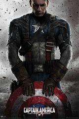 Captain America Poster with Shield - Chris Evans depicts the First Avenger and movie favourite, Captain America in this cool poster. Loving the way he's holding his shield as though making a pledge to protect everyone, in this classic portrait format.Standard Poster size: 61cm x91.5cm.