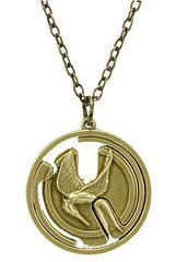 Hunger Games Necklace Mockingjay Gyroscope - This amazing Hunger Games Necklace features a reversible and gyroscopic pendant which, depending on how you'd like to wear it can display either the Mockingjay symbol or the hand gesture that is the symbol of defiance against the Capitol. It is a very versatile and beautiful piece of collectable jewellery.