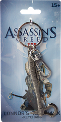 Connor\'s Tomahawk Keyring AC3 - Arm yourself with this finely detailed, metal Assassin's Creed III Tomahawk Keyring (measuring approximately 8cm long) from the very popular Ubisoft game.Who knows what incredible adventures this will hold the keys to?Suitable for ages 15 and over.