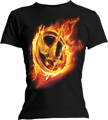 Hunger Games Mockingjay T-Shirt - The Hunger Games Catching Fire Mockingjay Ladies T-shirt is scorching.Made from 100% pre-shrunk, ringspun cotton this classic Hunger Games Tee features a stunning Mockingjay, aflame, above the title of this awesome film and literary series. Be sure and catch yours.Note: This Actual product differs slightly from the manufacturer supplied photo, as the actual item has 'The Hunger Games' written beneath the image, and it sports a slightly more explosive flaming mockingjay design. This is official and authentic Hunger Games apparel,...