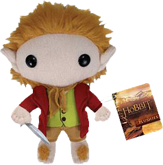 The Hobbit Bilbo Plushie - Cuddly and soft, yet he's holding a sword. That's Hobbits for ya.