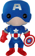 Captain America Plush Figure - Many didn't think Captain America could get any cuter but it turns out, yep, he can. This Marvel Avengers Movie, Captain America Plush figure is a cuddly pal and a pint-sized patriot. Take him home, tiny shield and all.