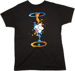 Portal 2 Gel Splatter Male T-Shirt - Portals, cube, gel splatter, what's not to love? Get where you need to go in style, in the Portal 2 Gel Splatter T-Shirt for men. Another great design by Jinx.