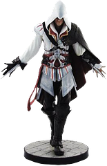 Assassin\'s Creed 2 Ezio Vinyl Statue - This finely crafted Ezio Vinyl Statue is available in both the Black and White variations, and shows him with both hidden blades extended, coming towards his prey. An absolute classic collectable. Available while stocks remain.