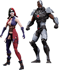Cyborg Vs Harley Quinn Injustice 2 Pack - From the incredible game Injustice: Gods Among Us, comes this great 2 Pack, which pits Cyborg against a darker-haired Harley Quinn, for the fate of the earth. Each figure is approximately 4