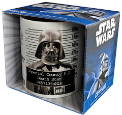 Darth Vader Mug Shot Mug - If Lord Vader was ever brought to heel in our own backyards, this Mug Shot Mug might resemble his awkward shame. A great laugh and great gift for yourself or that huge Star Wars or Darth Vader fan that you know. We all know one, right?