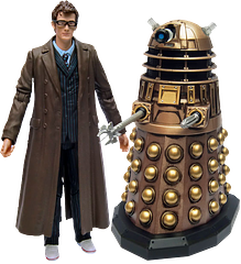 Doctor Who 10th Doctor and Dalek Pack - The Doctor Who Tenth Doctor with Dalek Pack features our long-coat and sandshoe wearing Doctor facing off against a pretty mean looking brass coloured Dalek. I have a hunch who'll come out on top though. I mean the show's not called 'Dalek Who' after all.A great double figure pack at a good price.