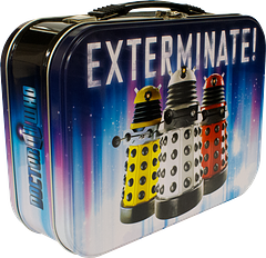 Dalek 3-Up Exterminate Lunch Box - Don't just eat your lunch, exterminate it with inspiration from the Daleks themselves. The Doctor Who 3-Up Exterminate Lunch Box will keep your fish custard well and truly secure, should your tastes tend in that direction.