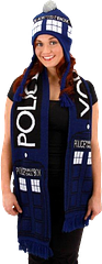 Doctor Who Tardis Scarf - Wrap yourself in the folds of time and space with the Doctor Who Tardis Scarf. A great accessory to showcase your appreciation for all the good Doctor has done for the Universe. Plus, warm. Nice.For ages 14+.