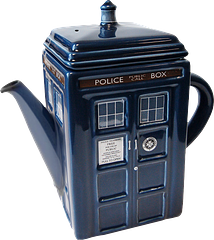 Doctor Who Tardis Teapot - This teapot mimics the shape of the Tardis, not just its designs; boldly emulating a police box, in the face of all tea-making tradition. This alone is applause-worthy. Ad the this it's finely sculpted ceramics and the fact that it holds 750ml of tea, well it's definitely a winner for anyone who wants to stay calm and call the Doctor.