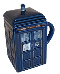 Tardis Mug with Removeable Lid - Quality ceramics, a lid to keep all the steamy tea-tasting goodness in, and… all in the shape of a Time Lord's Police Box Tardis. Honestly why did this take so long to be invented. It seems so obvious, right?Not guaranteed against people throwing Captain America shields in the house (yuh huh), but great for drinking your favourite beverages from.