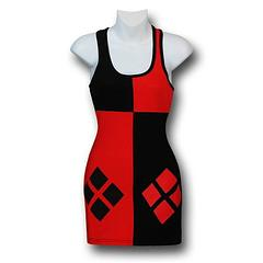 Harley Quinn Tank Dress - Capture the unpredictable appeal of DC's wildest bad girl in The Harley Quinn Women's Costume Tank Dress. It's made from 95% cotton and 5% lycra and is guaranteed to make people either very happy, a bit jealous, or very nervous; so it's a win-win, all round, right?