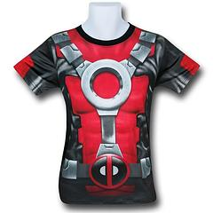 Deadpool Costume Fitness T-Shirt - Be the man behind the mask, or you could go get a mask too and be the man in the mask, who's also in the shirt and, well, basically be Deadpool wherever you go (masked or not). Did you follow that?It's all good if you're Deadpool, because he doesn't need to make sense, he just needs to make his targets drop. He's reeeaally good at that part.Note: Mask mentioned above not included. It was just mentioned… well just, 'because.'The Deadpool...