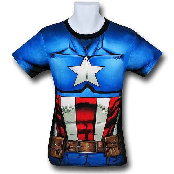 Captain America Costume Fitness T-Shirt