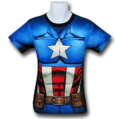 Captain America Costume Fitness T-Shirt - The Captain America Sublimated Costume Fitness T-Shirt is made from 92% polyester and 8% spandex.Colour: Blue
