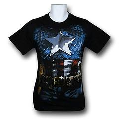 Captain America Costume T-Shirt - The Captain America Costume T-Shirt is made from 100% cotton.Colour: Black