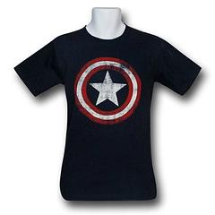 Captain America Distressed Shield Navy T-Shirt - The Captain America Distressed Shield Navy T-Shirt is made from 100% cotton.