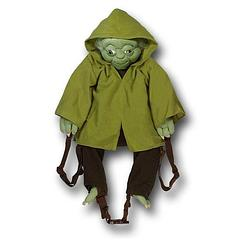 Yoda Backpack Buddy - The plush Star Wars Yoda Backpack Buddy measures approximately 64cm (25 inches) long and has a storage space approximately 34cm (13.4 inches) deep.  Yoda's arms are attached to the adjustable shoulder straps so that it looks like he is holding onto your shoulders, and his legs can also be made to wrap around your body using the waist strap.