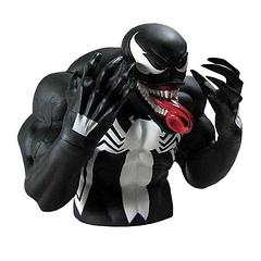 Venom Bust Bank - Thieves beware!  At 16.5cm (6.5 inches) tall and 18cm (7 inches) wide, the Venom Bust Bank won't take any unauthorised access to its funds lying down.  He's poised and ready for action.