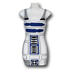 "Star Wars R2-D2 Costume Tank Dress - When you're in the Star Wars Women's R2-D2 Costume Tank Dress it will be everyone else making the cute little squeaks and whistles that are usually reserved for our favourite little droid. Plus there's less chance of anyone saying, ""OMG, I can't believe we wore the same dress to this party/work/my wedding, today."" A classic not to be missed out on.This figure hugging dress is made from 94% cotton and 6% spandex.Sizing:  Women's Juniors (Baby Doll)Colour: White"