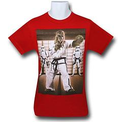 Star Wars Wookiee Karate Kids T-Shirt - Are you a Chewbacca fan?  Do you like martial arts?  Now you can have both in the The Star Wars Wookiee Karate Kids T-Shirt which is made from 100% cotton.Colour: Red