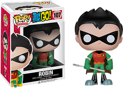 Robin Pop! Vinyl Figure - Teen Titans Go - He may not have any super-powers, but that doesn't stop this Teen Titan from leading those who do.  Armed with a staff and his many skills and talents, the 3.75