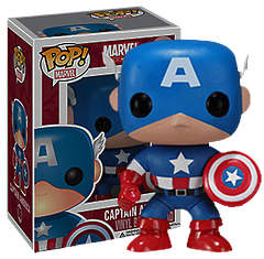 Captain America Pop! Vinyl Figure - The First Avenger is here and ready to rumble with Vibranium shield in hand. No Avengers or Cap collection is complete without the original Funko Pop! Vinyl Captain America Figure.3.75 Inches tall.