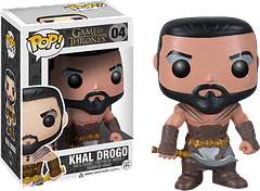Khal Drogo Pop! Vinyl Figure - Game of Thrones warlord and leader of the Dathraki, Khal Drogo, strikes fear into the hearts of his enemies yet melts the hearts of collectors in his 3.75 inch Pop! Vinyl Figure form.