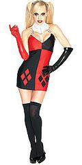 Secret Wishes Harley Quinn Costume - This super-awesome licensed Secret Wishes Super Villain Harley Quinn costume comes with the red and black Harley dress with the attached collar and matching gloves.