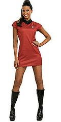 Star Trek Red Dress Uhura Costume - Wow!  This Secret Wishes Star Trek Red Dress Uhura costume is based on the stunning Uhura outfit in the 2009 Star Trek movie.  This costume includes a 100% polyester red dress, with an embroidered emblem.